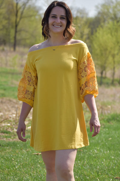 Mango Off Shoulder Dress with Crochet Puff Sleeves