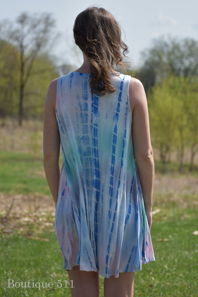 Casual Pink and Blue Tank Dress