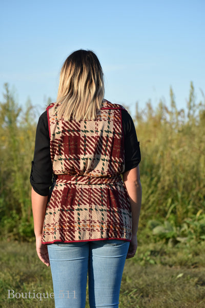 Beige and Red Plaid Vest With Tie Waist