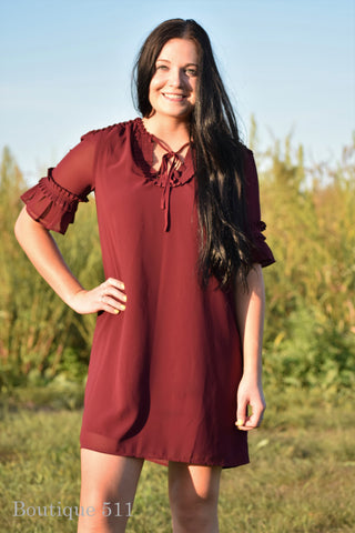 Burgundy Pleated Dress