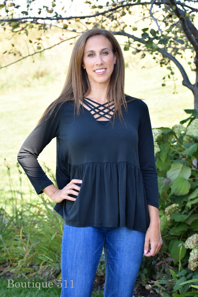 Black Criss-Cross Neckline with Ruffled Bottom Top