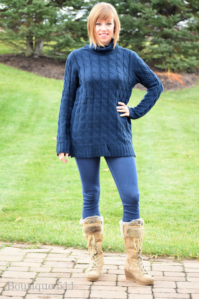 Navy Cable Knit Turtle Neck Sweater