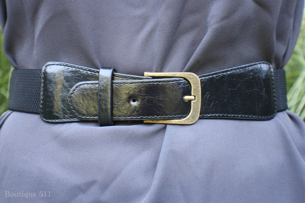 Black Buckle and Stretch Belt