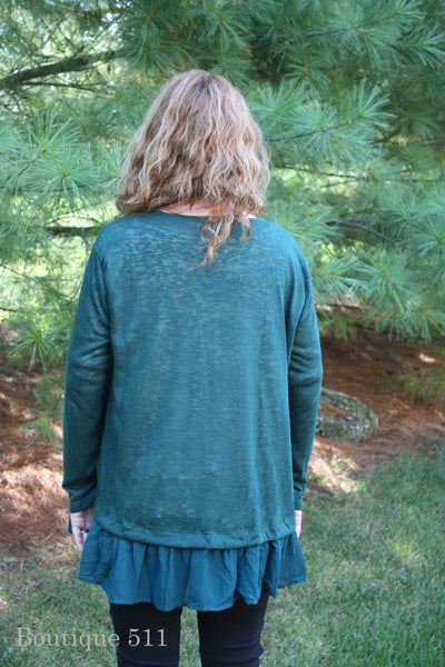 Forest Green Sweater Cardigan