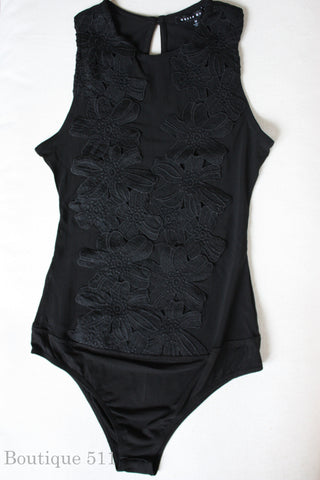Black Embroidered Bodysuit