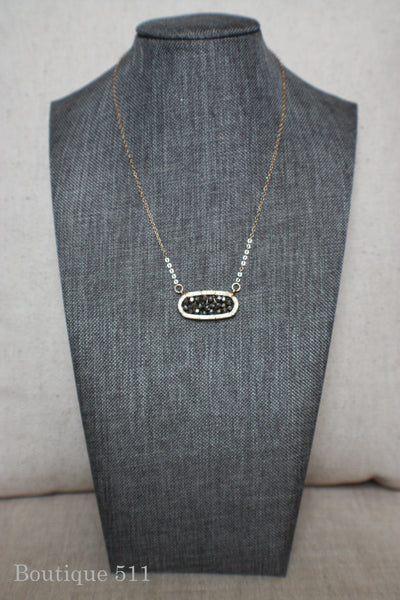 Grey Beaded Pendant Necklace