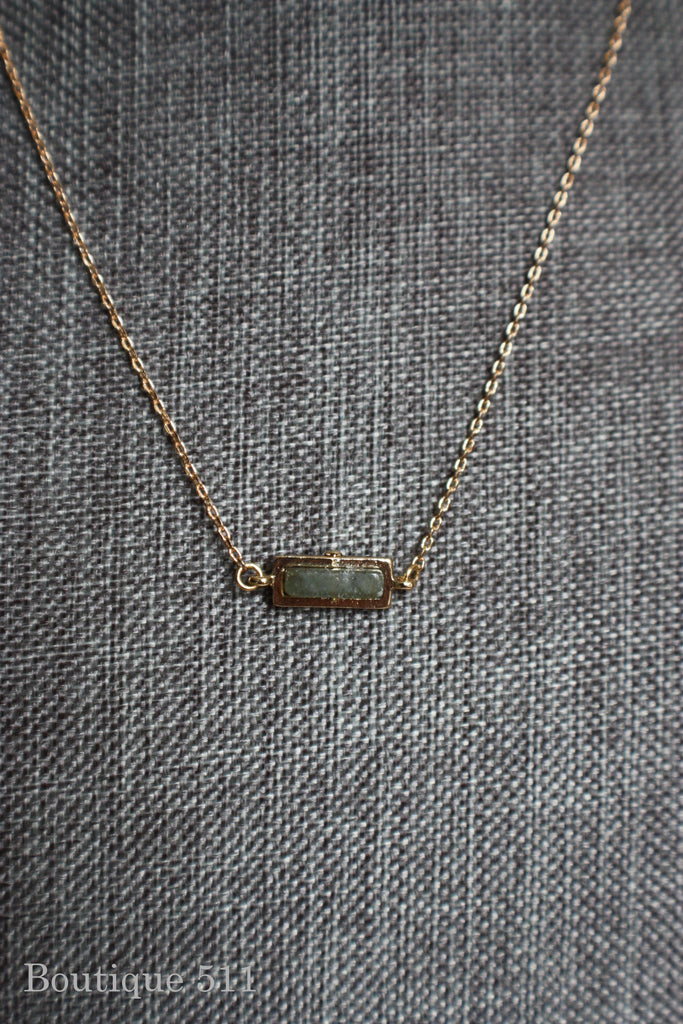 Dainty Olive Grey Stone Pendant Necklace