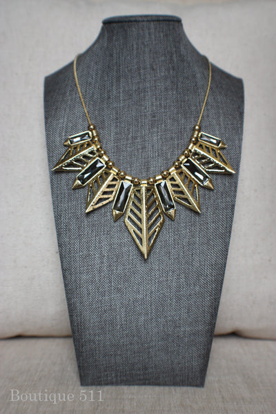 Gold and Grey Geometric Statement Necklace