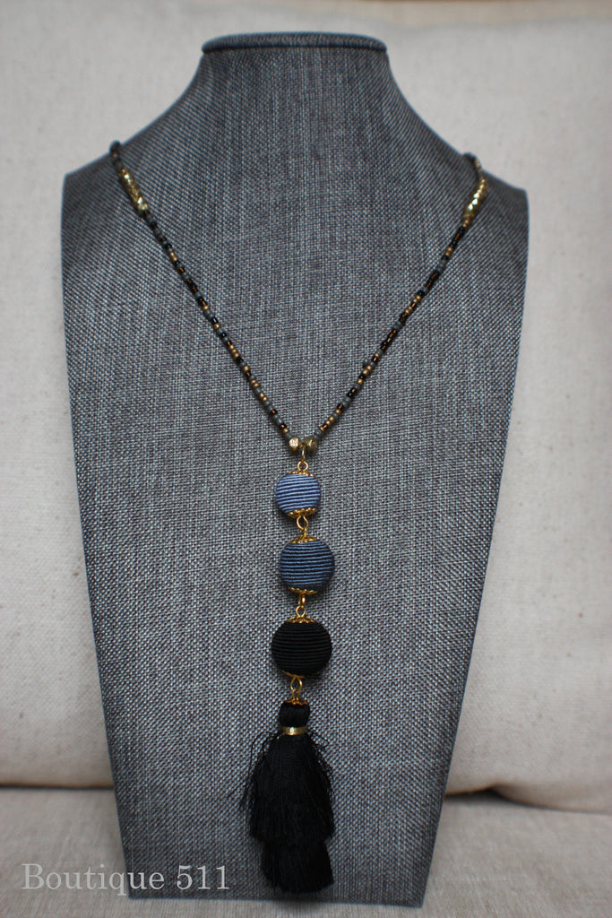 Black and Grey Tasseled Necklace
