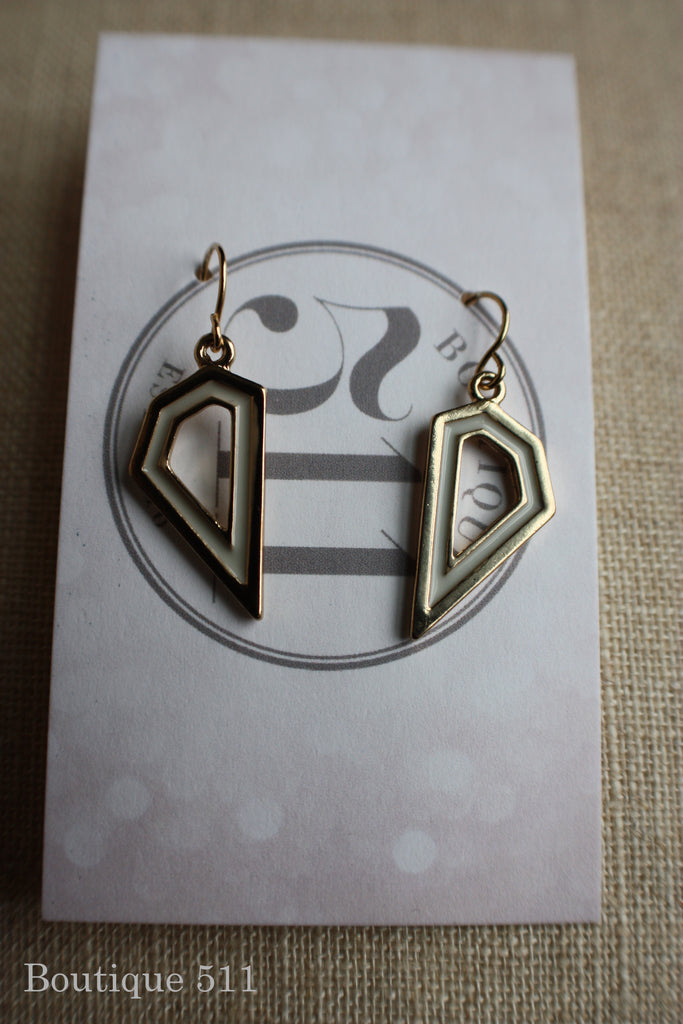 Gold and Ivory Geometric Dangle Earrings