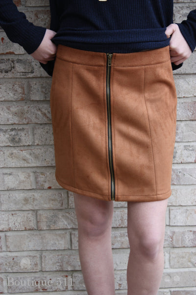 Camel Suede-Like Skirt
