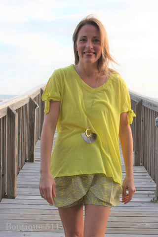 1 Large Left - Lemon Tie Sleeve T