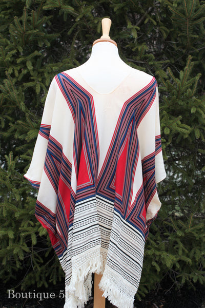 Ivory, Red, and Blue Fringe Cover Up