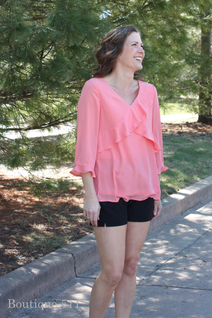 Pink Ruffle 3/4 Sleeve Top