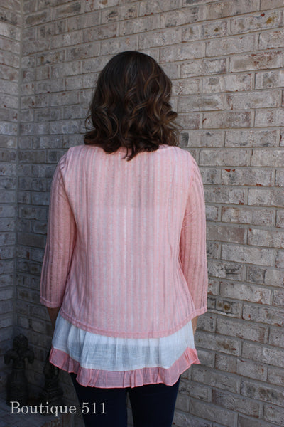 Light Pink Ruffle Bottom Sweater