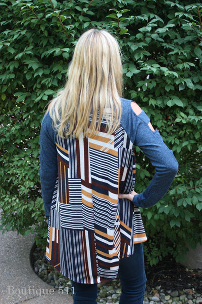 Lattice Striped Top With Cut Out Sleeves