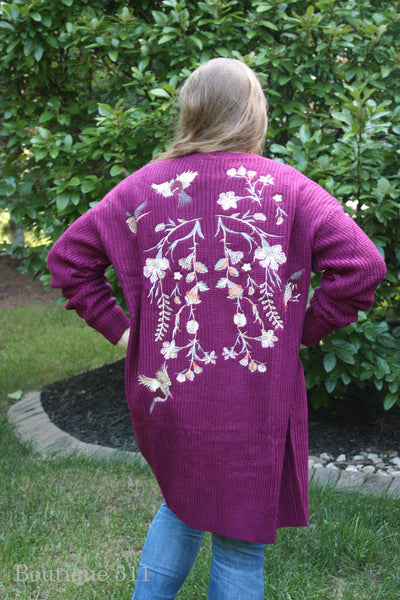 Wine Chunky Knit Emboidered Sweater Cardigan