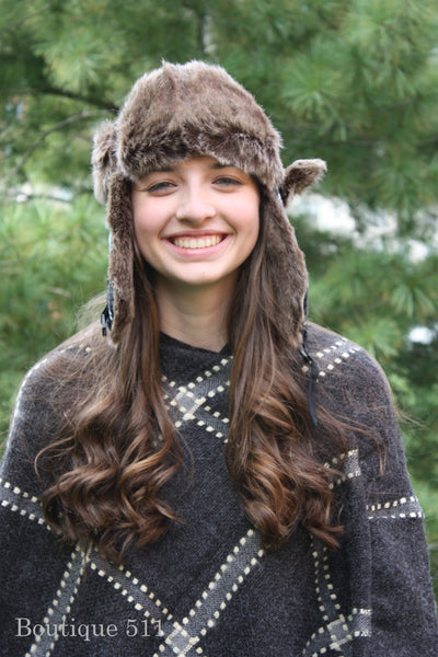 Black, Grey, and White Plaid Trapper Hat