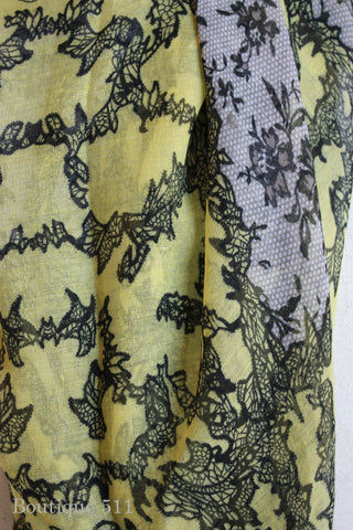 Yellow With Gray Lace Print