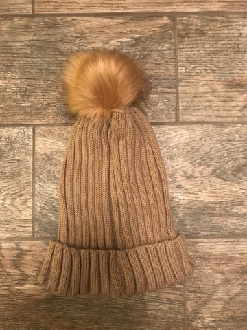 Caramel Cable Knit Hat with Pompom