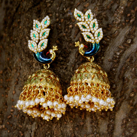 TRADITIONAL EARRING JHUMKA WITH WHITE AD AND BLUE MEENA