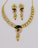 DIA DIAMOND PEOCOCK NECKLACE SET WITH KUNDAN