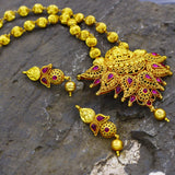 TEMPLE GOLDEN BEADS NECKLACE WITH LAXMI KEMP PENDENT
