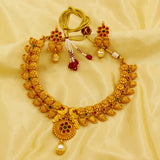 SMALL FLOWER SHAPE GOLDEN RUBY NECKLACE