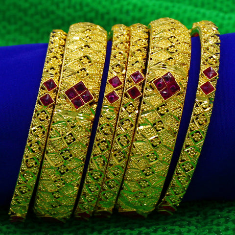 DUBAI BANGLES WITH SEMIPRICIOUS RUBY 6 PC SET