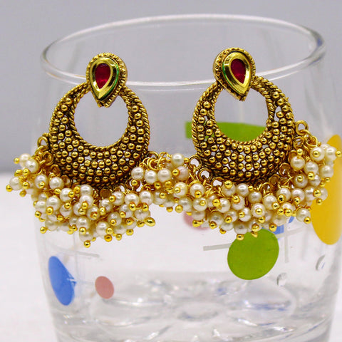 CHANDBALI  WITH PEARLS DROPLET