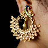 DESIGNER PEACOCK EARRINGS WITH PEARL DROP
