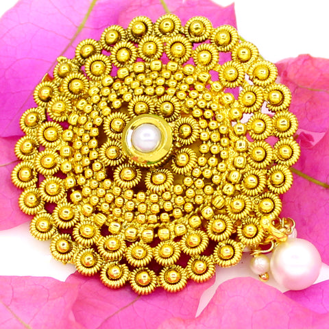 GOLDEN BEADS BROOCH WITH KUNDAN