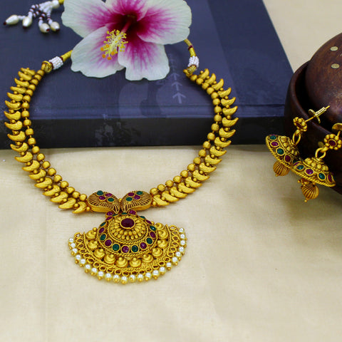 LEAF DESIGNER NECKLACE WITH JHUMKI TOPS