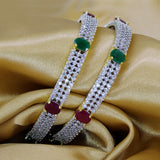 RED, GREEN WITH ZIRCON BANGALS