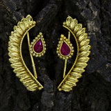 LEAF EARRING WITH RED STONE