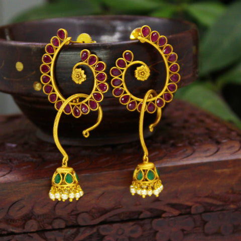 MATT FINISH NAKSHI LEAF WITH GREEN JHUMKA EARRINGS