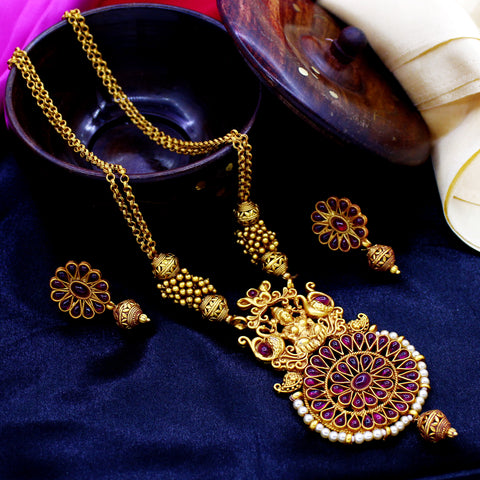 GOLDEN BEADS NECKLACE WITH LAXMI PENDENT
