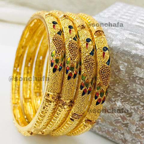 PEACOCK WITH MINA WORK BANGLES
