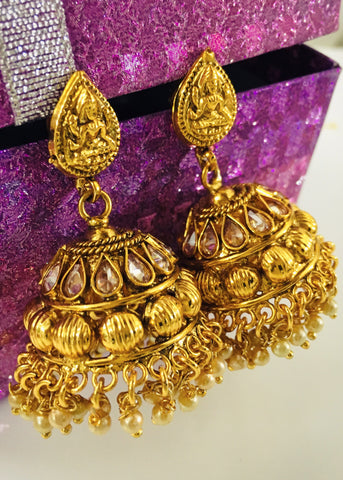 GOLDEN BEADS JHUMKA