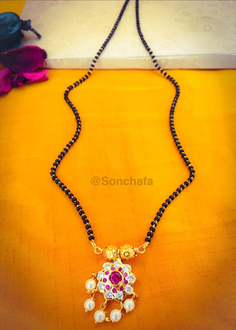 PINK STONE WITH FLORAL MANGALSUTRA