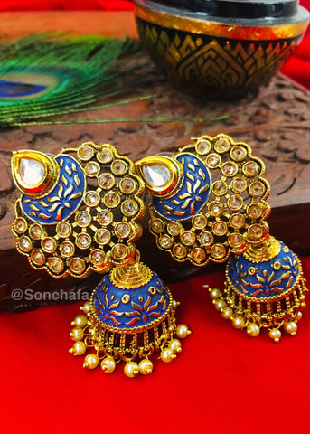PEAHCH STONE WITH MULTI COLOUR JHUMKA