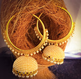 RING EARRING WITH PEARL BEADS