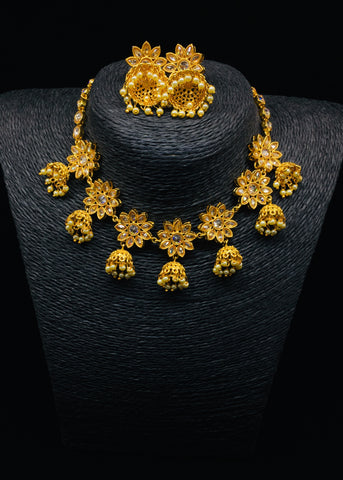 FLORAL JHUMKI NECKLACE SET