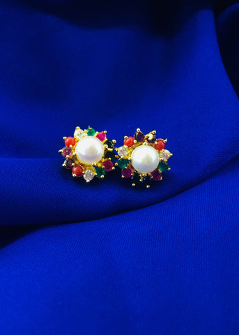 PEARL BEADS WITH NAVRATAN STUD