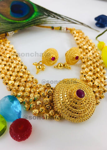 MALHAR GOLDEN BEADS CHOKAR