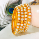 MOTI WITH GOLDEN BEADS BANGLES