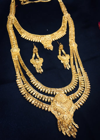 2 IN 1 GOLD FINISH DESIGNER NECKLACE
