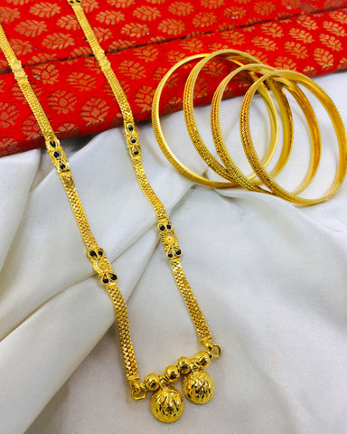 SIMPLE GOLD PLATED MANGALSUTRA WITH FREE BANGLES