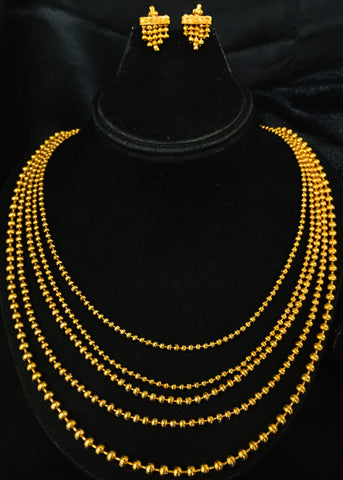 GOLDEN BEADS MULTI LAYER NECKLACE