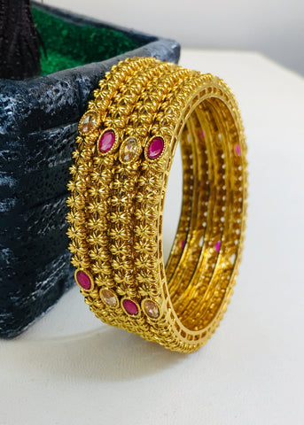 ANTIQUE GOLDEN BEADS BANGLES